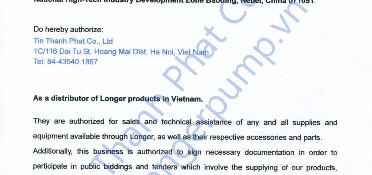 Thư ủy quyền Longer Pump cho công ty TNHH TM Tín Thành Phát